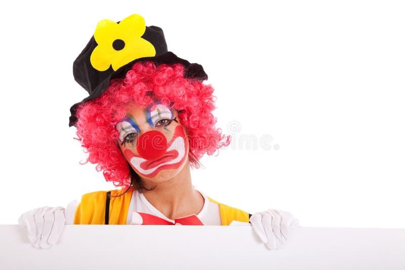 удерживание клоуна знамени унылое стоковые фотографии rf