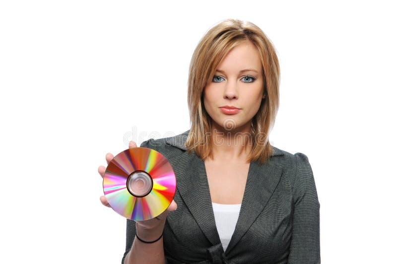 удерживание коммерсантки cd стоковое изображение