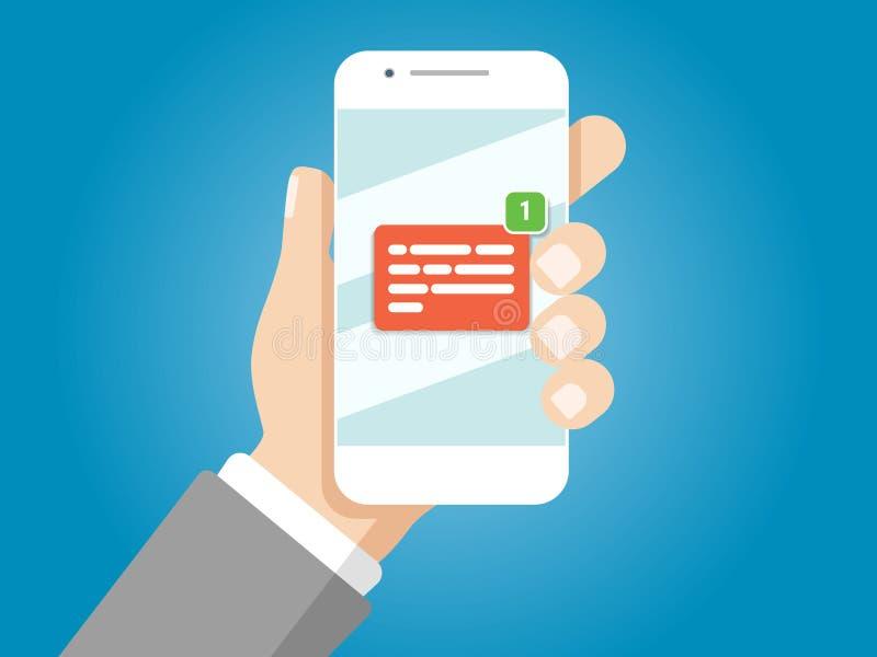 удерживание руки банка предпосылки замечает smartphone Новое уведомление электронного письма на мобильном телефоне стоковое изображение