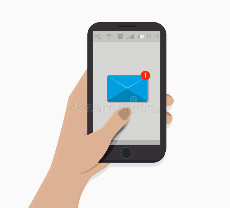 удерживание руки банка предпосылки замечает smartphone также вектор иллюстрации притяжки corel Белая предпосылка значок информаци иллюстрация штока