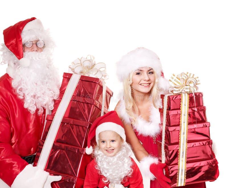удерживание santa подарка семьи claus ребенка коробки стоковое фото rf