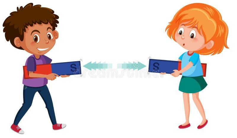 Удерживающий электромагнит мальчика и девушки иллюстрация вектора