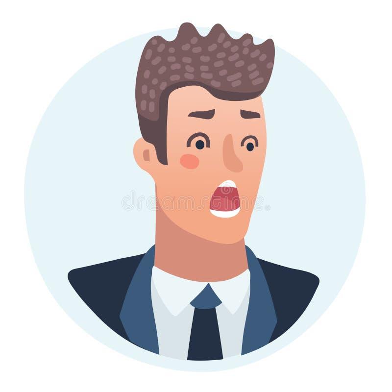 Удивленная концепция эмоций людей Вспугнутый или сотрясенный портрет человека для значка иллюстрация штока