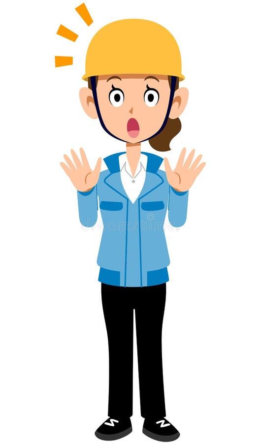 Удивленная рабочая одежда женщины работника строительной площадки голубая иллюстрация вектора