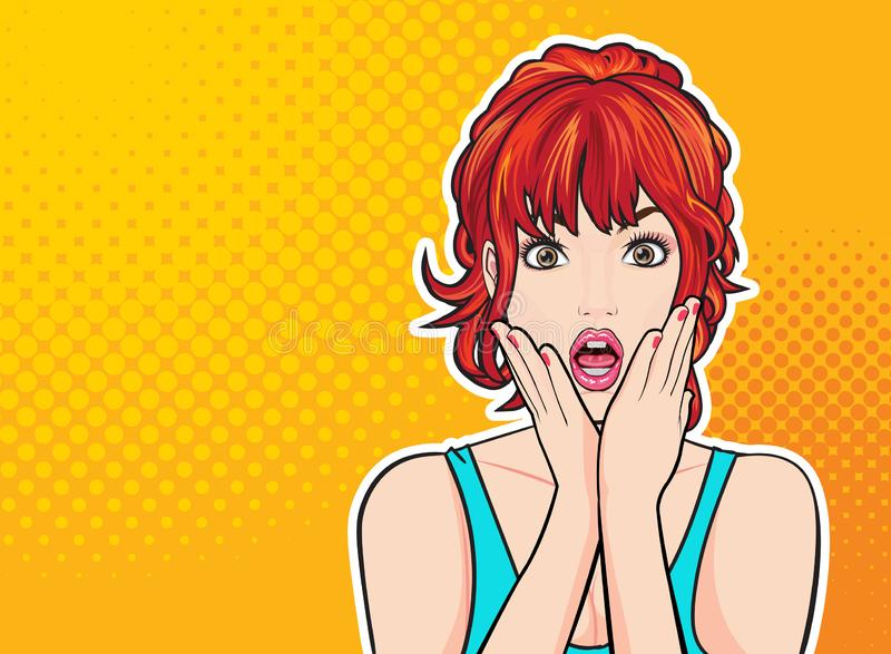 Удивленная сторона женщины с открытым ртом с розовыми губами иллюстрация штока