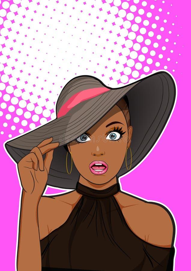 Удивленная чернокожая женщина со смотреть шляпы иллюстрация штока