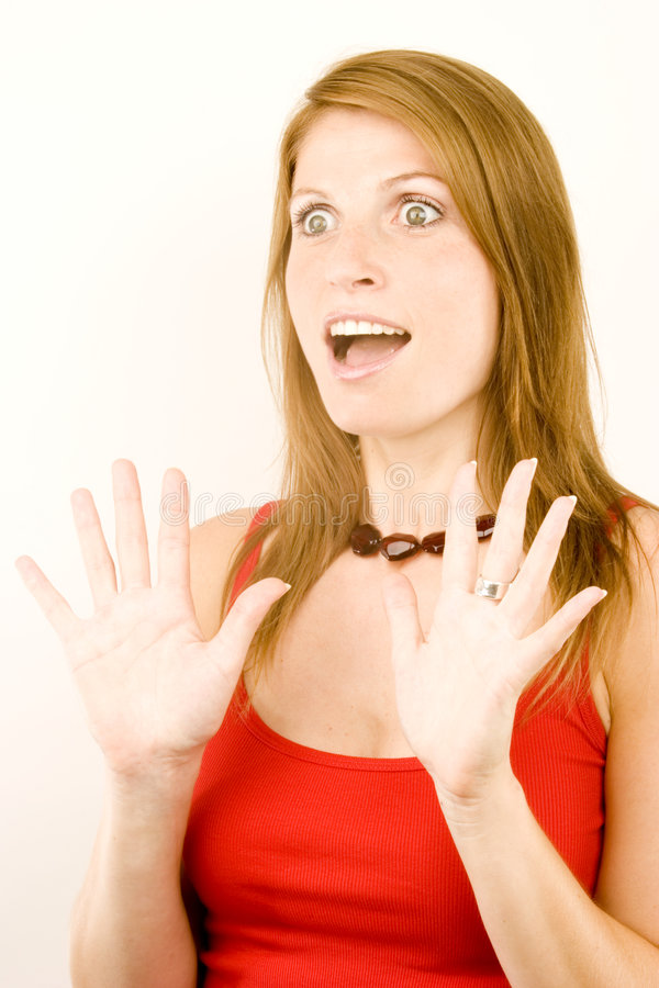 удивленные детеныши женщины стоковая фотография rf