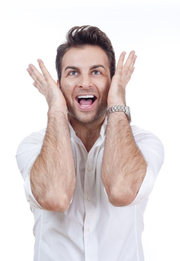 удивленный усмехаться человека стоковые фото