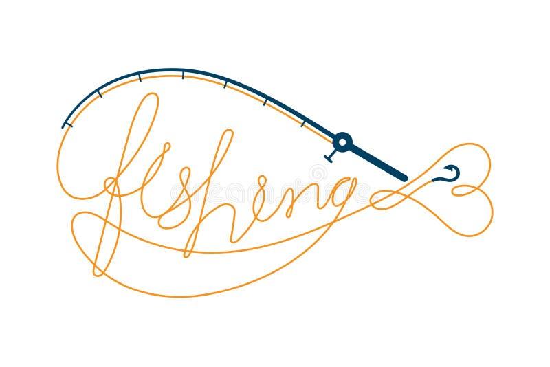 Удите текст сделанный от рыболовной удочки обрамить форму рыб, апельсин установленного дизайна значка логотипа и синюю иллюстраци иллюстрация штока