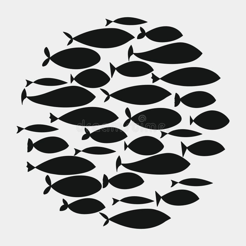 удите школу Группа в составе рыбы силуэта плавает в круге Морская жизнь также вектор иллюстрации притяжки corel Тату Рыбы логотип иллюстрация вектора