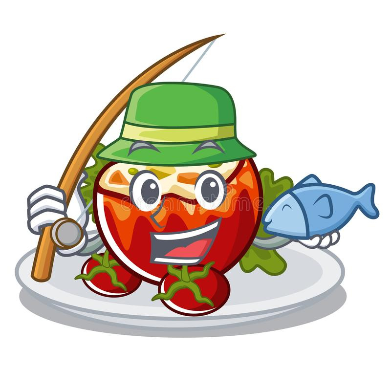 Удить заполненные томаты на доске мультфильма иллюстрация штока