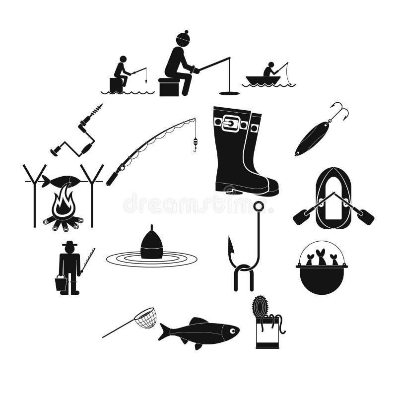 Удящ черные простые установленные значки бесплатная иллюстрация