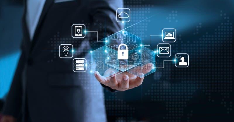 Уединение защиты данных GDPR EC Сеть безопасностью кибер стоковая фотография rf