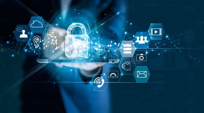 Уединение защиты данных GDPR EC Сеть безопасностью кибер стоковое изображение