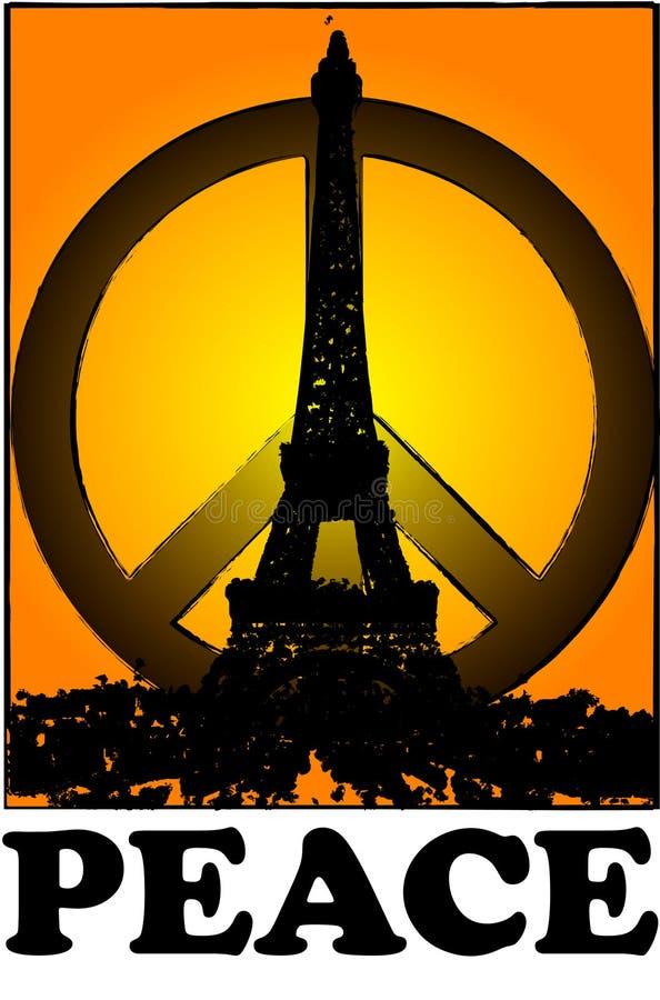 Уединение и мир для стиля grunge Парижа винтажного иллюстрация штока