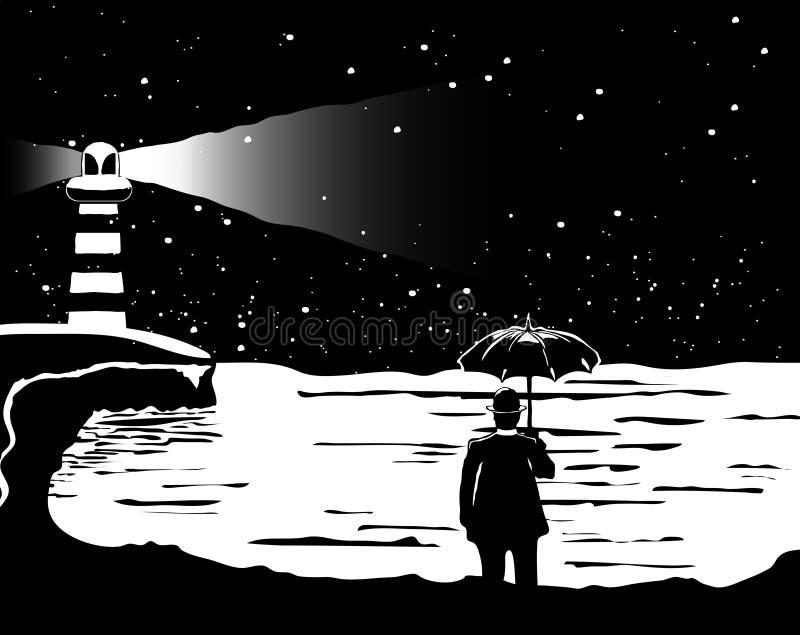 Уединённый человек стоит перед морем с чернотой зонтика и иллюстрация вектора