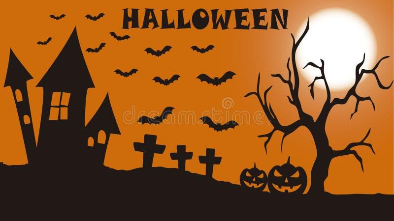 Ужасая кладбище на ночь хеллоуина бесплатная иллюстрация