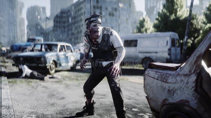 Ужасное зомби в разрушенном городе стороны принципиальной схемы крупного плана апокалипсиса зомби атмосферической запятнанный кро бесплатная иллюстрация