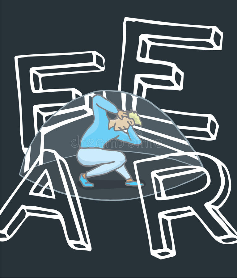 Ужаснутый человек под куполом страдая большой страх бесплатная иллюстрация