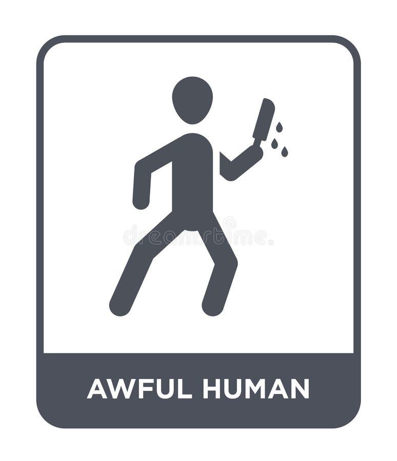 ужасный человеческий значок в ультрамодном стиле дизайна ужасный человеческий значок изолированный на белой предпосылке ужасный ч иллюстрация штока