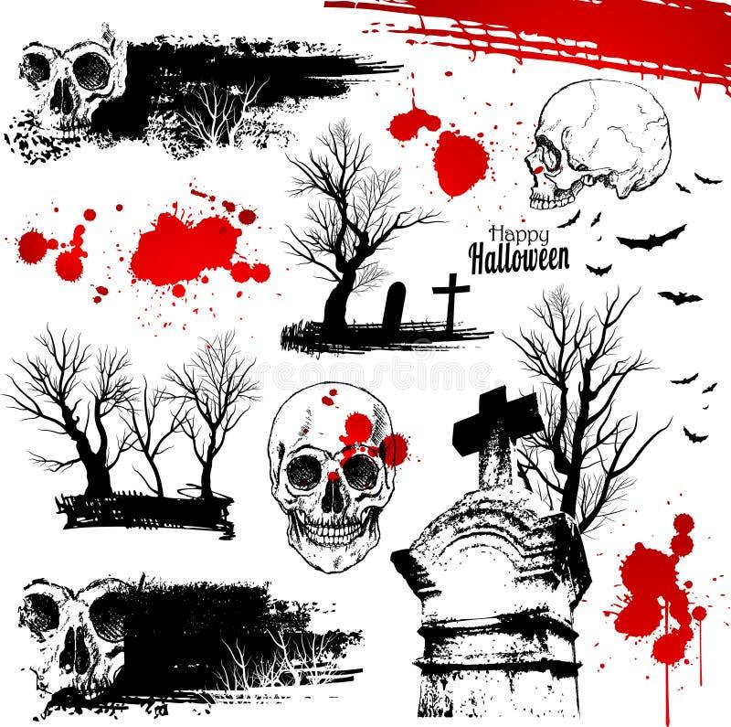 ужас halloween элементов иллюстрация вектора