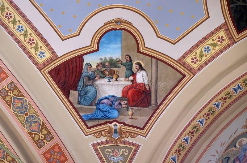 Ужин Иисуса Simon Pharisee стоковое фото