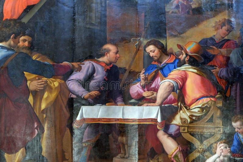 Ужин на Emmaus, di Santa Croce базилики во Флоренс стоковые фото