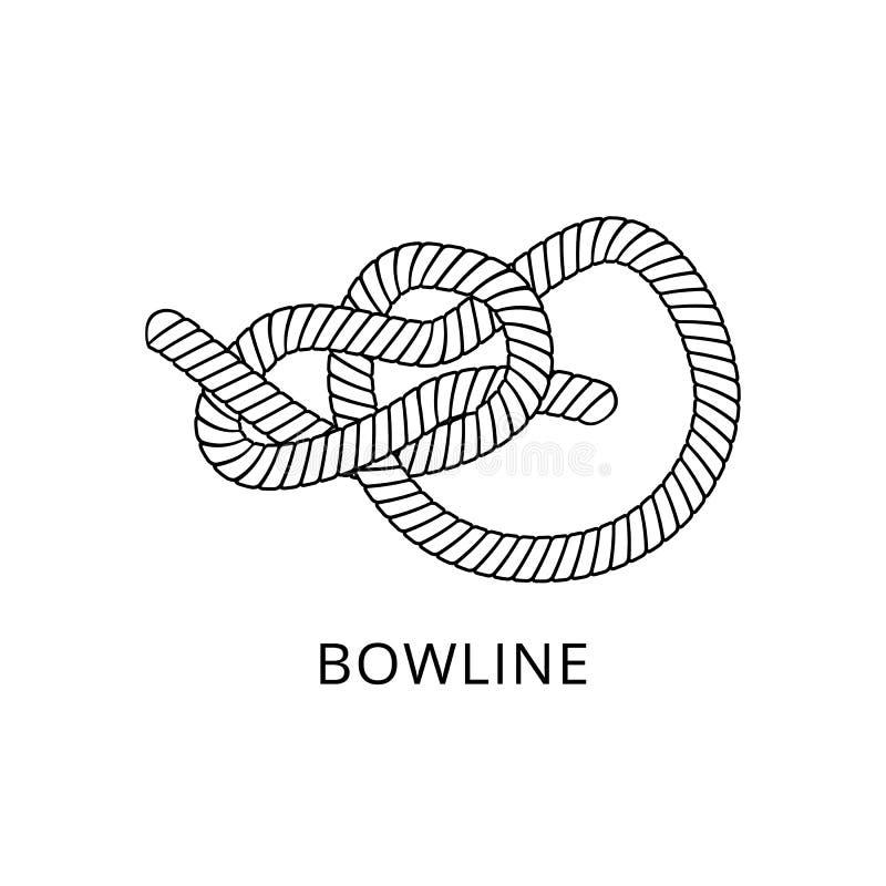 Узел булиня - морская морская строка веревочки связанная и переплетенная в сложную петлю бесплатная иллюстрация