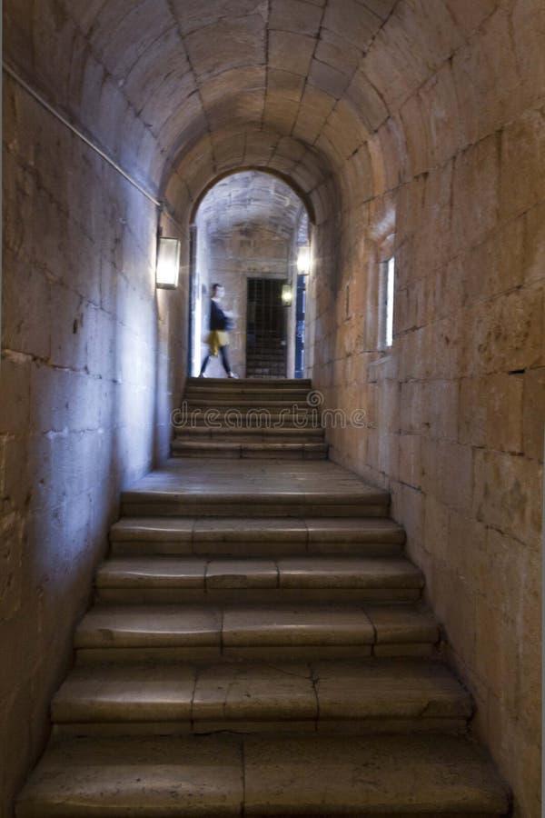Узкая лестница монастыря Jeronimos стоковое фото