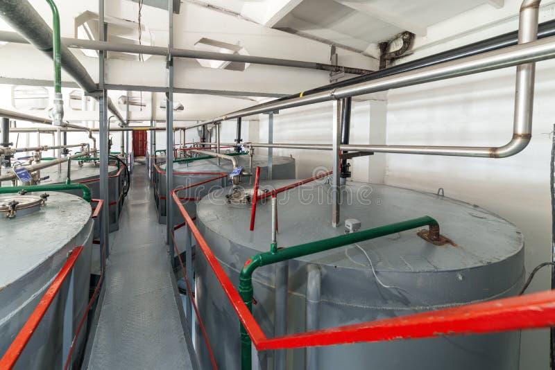 Узкая и длинная лестница между большими танками Большие стальные цилиндрические танки для заквашивать смесь дрожжей стоковая фотография rf