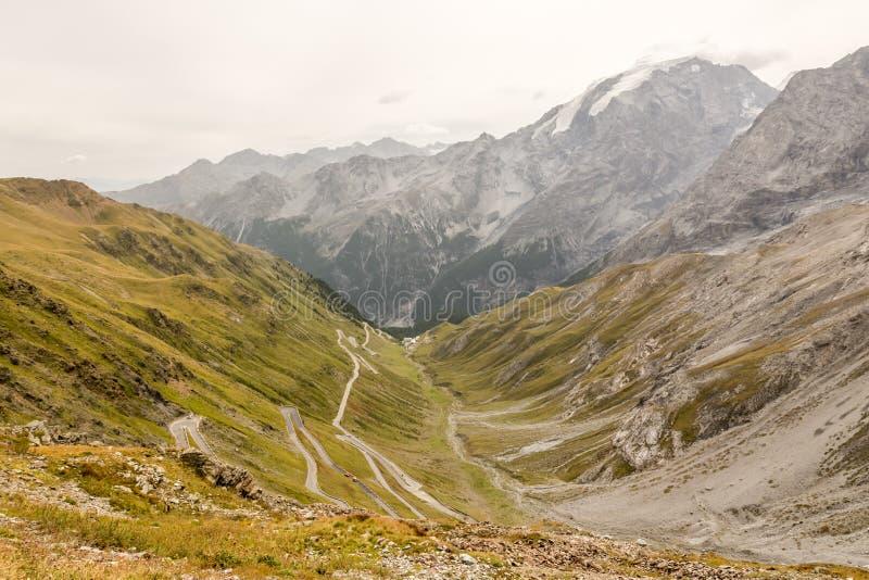 Узкая часть и извилистая дорога к пропуску 2757m высокому Stelvio в Италию стоковое фото rf
