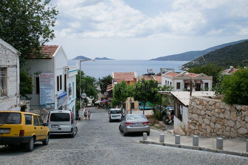 Узкие улицы городка Kalkan в Турции стоковое фото