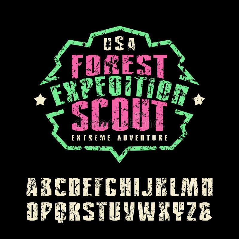 Узкие шрифт sanserif и эмблема лагеря для футболки иллюстрация вектора