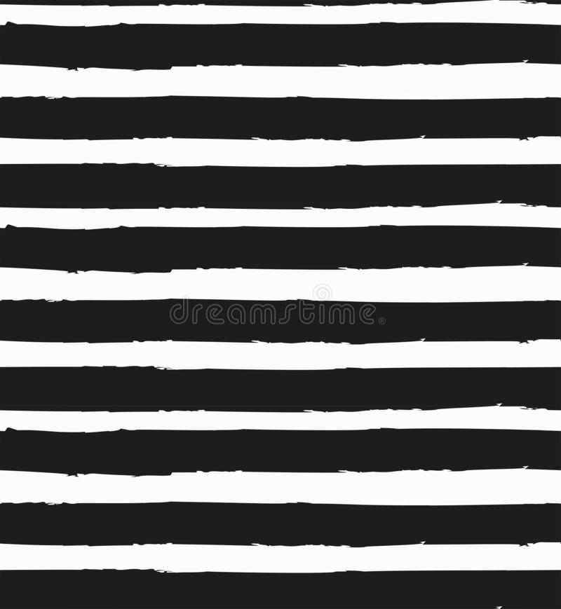 Horizontal stripe vector seamless pattern hand-drawing. Black and white monochrome background vector illustration