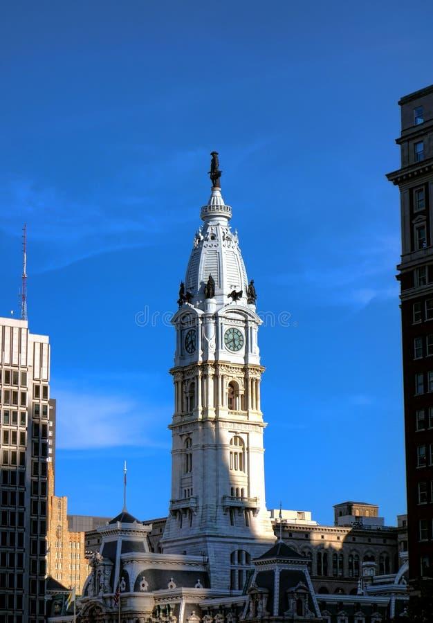Уильям Пенн на башне с часами здание муниципалитета Филадельфии стоковые изображения rf