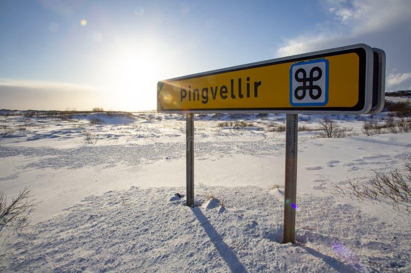 Указатель Þingvellir стоковое изображение rf