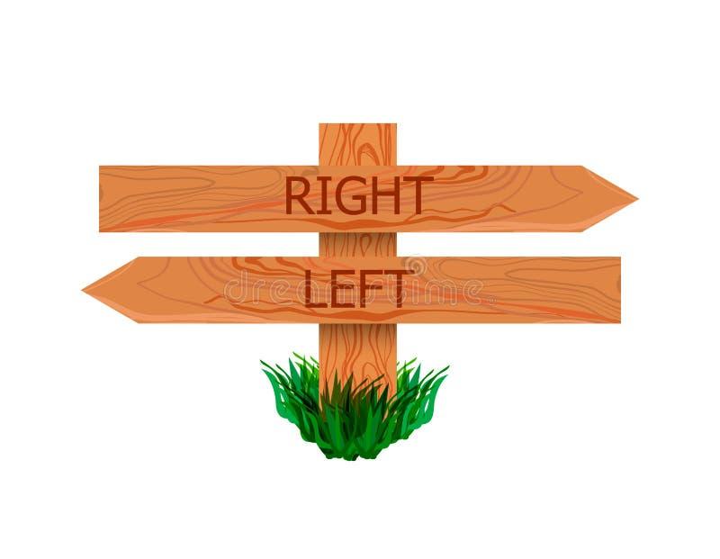 Указатель вектора деревянный с правыми и левыми указателями, значком изолированным на белой предпосылке, дирекционном знаке иллюстрация штока