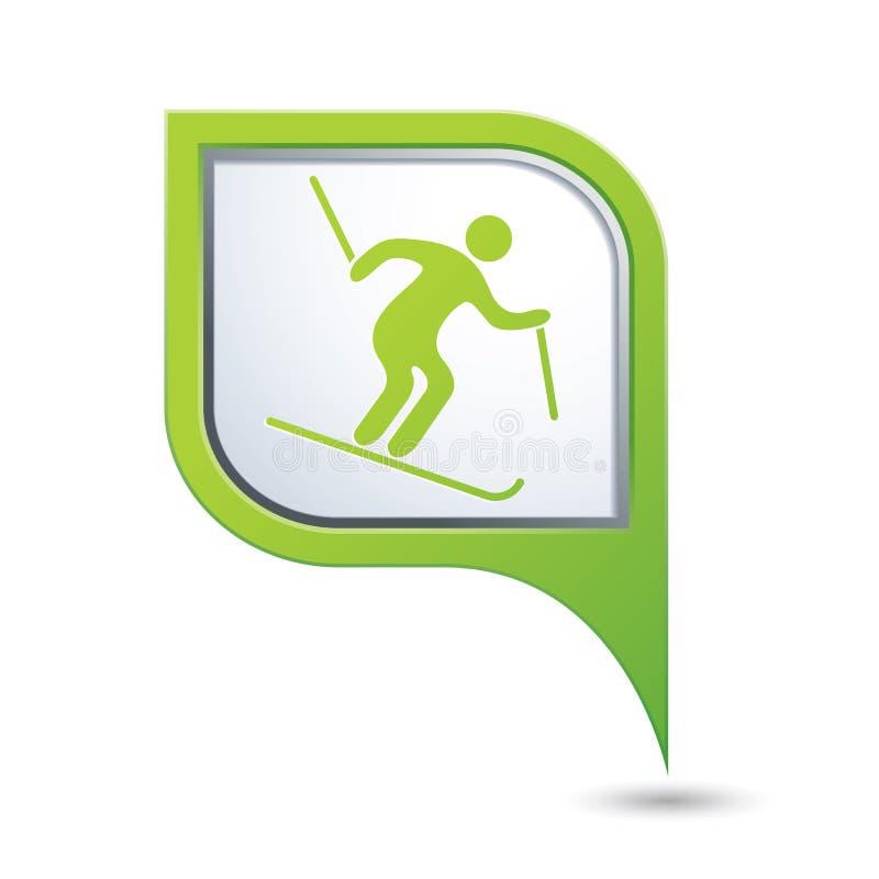 Указатель карты с значком покатого катания на лыжах иллюстрация штока