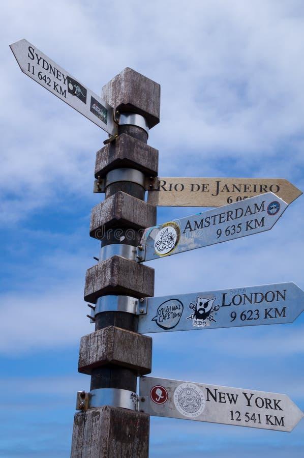 Указатель направления с различными городами включая расстояние от Кейптауна стоковое изображение