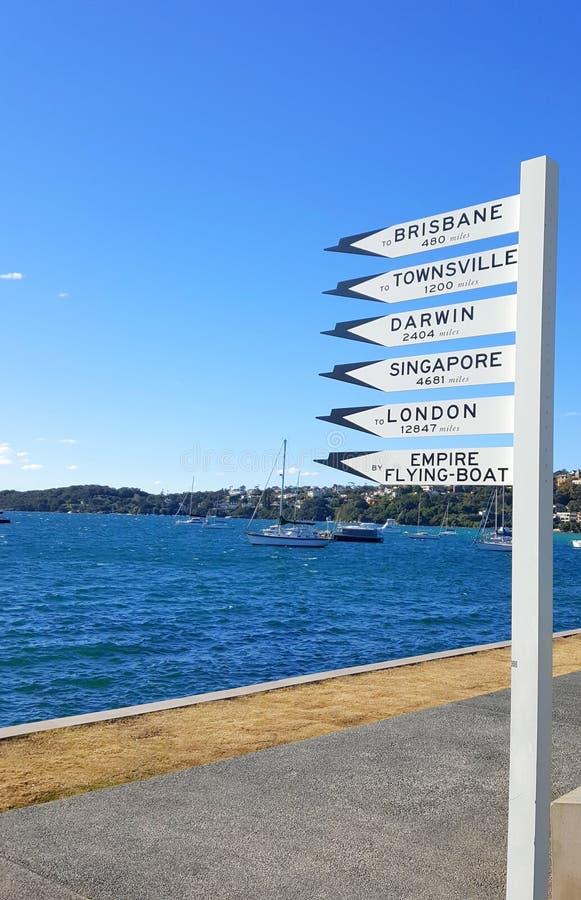 Указатель расстояния в Сиднее стоковые фото