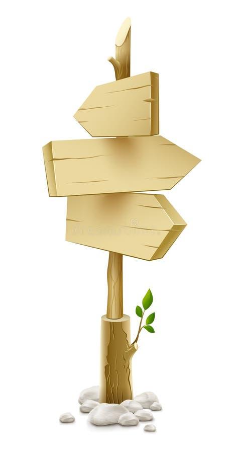 указатель стрелки деревянный иллюстрация штока