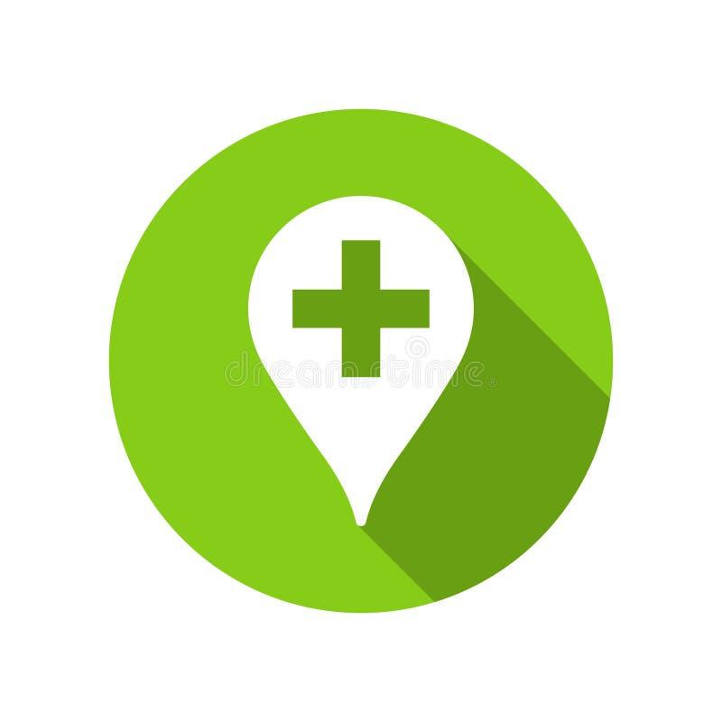 Указатель фармации зеленый для иллюстрации медицины, машины скорой помощи и докторов иллюстрация штока