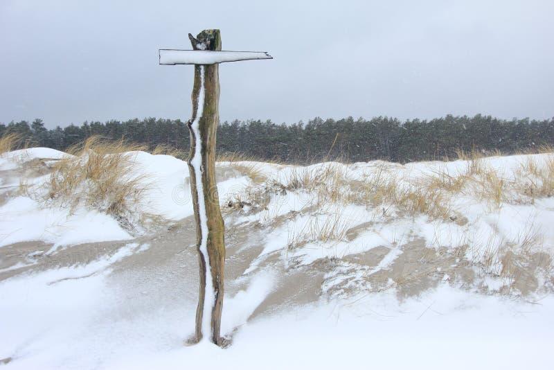 Указатель в шторме снега стоковое изображение rf