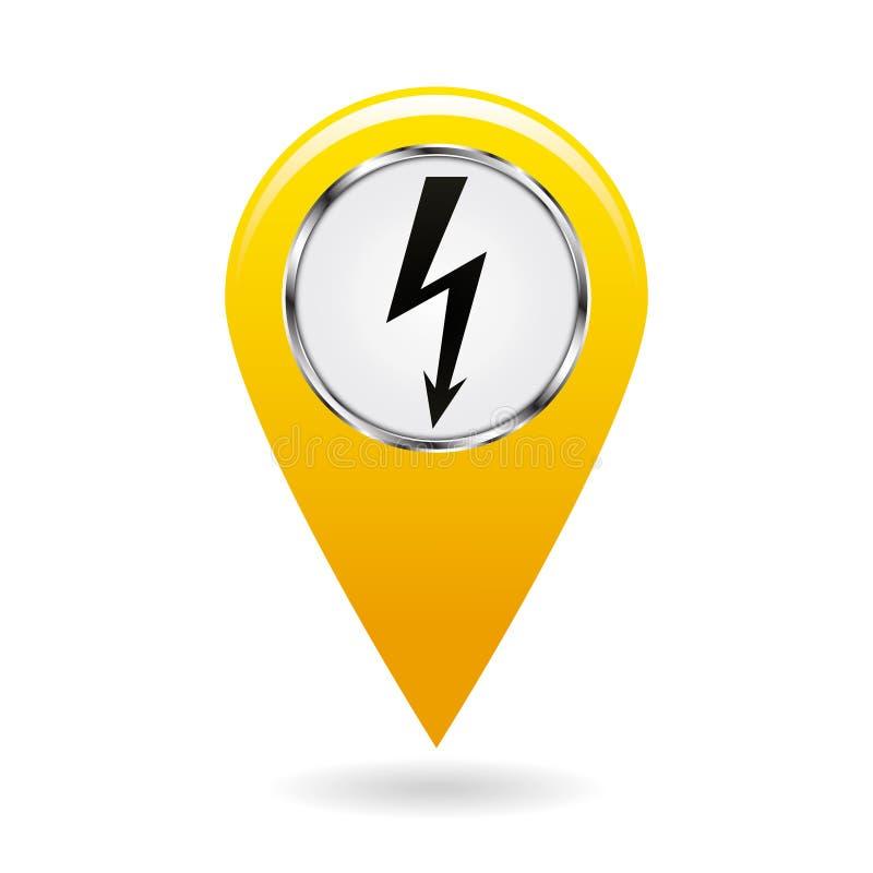 Указатель карты указатель электростанций и различных объектов связал к электричеству на карте зоны символ безопасности Желтый объ бесплатная иллюстрация
