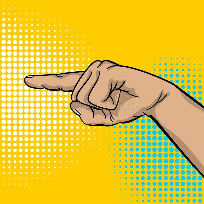 Указатель пальца выставки руки сильного человека искусства шипучки иллюстрация вектора