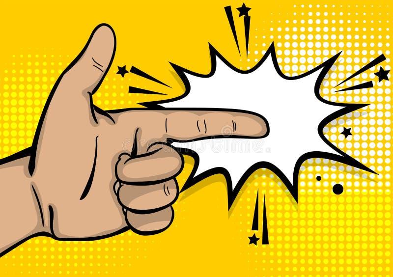 Указатель пальца выставки руки сильного человека искусства шипучки иллюстрация штока