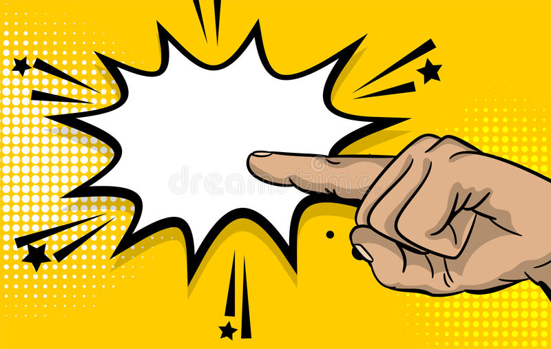 Указатель пальца выставки руки сильного человека искусства шипучки бесплатная иллюстрация
