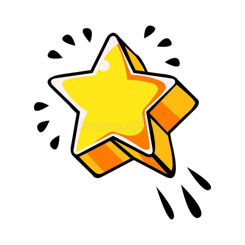 5 указали желтая звезда, иллюстрация вектора шуточная в стиле искусства шипучки ретро бесплатная иллюстрация