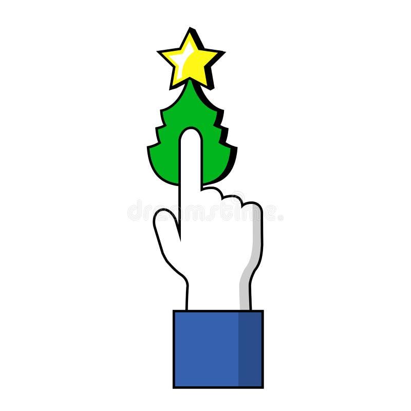 Указывать палец на кнопке рождественской елки Человеческая рука на символе рождества бесплатная иллюстрация
