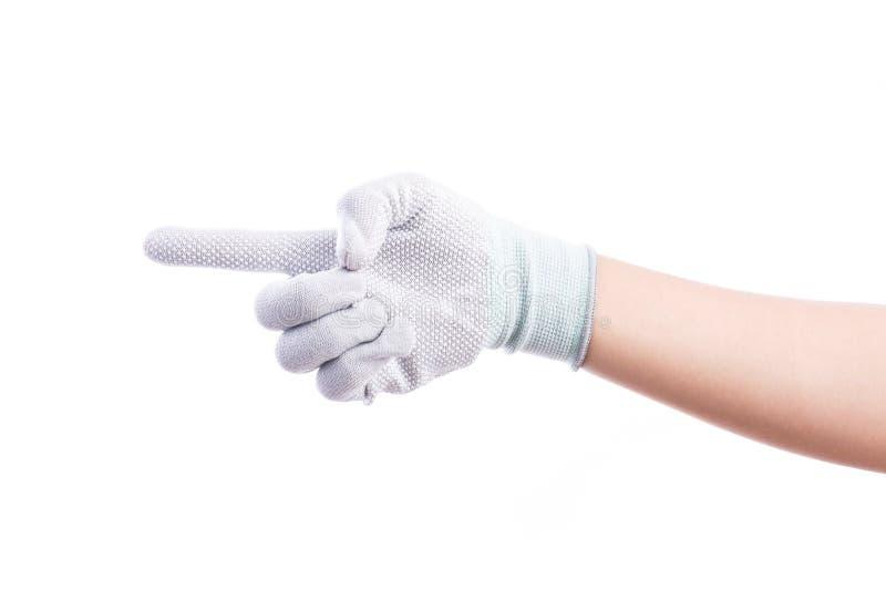 Указывать перчатки работника руки нося стоковые изображения rf